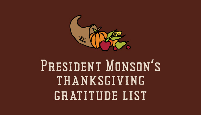 Title graphic Monson's thanksgiving gratitude list