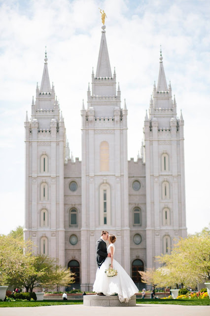 Taysom and Emily Hill wedding day SLC Temple