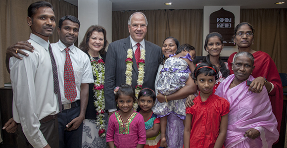 Ronald A. Rasband and Melanie Rasband visit the Latter-Day Saints in India. Image by Wendy Keeler, courtesy of Church News.