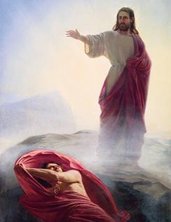 Christ commanding Satan, the mother of harlots, to flee