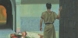 Painting of Nephi and Laban before Nephi killed Laban