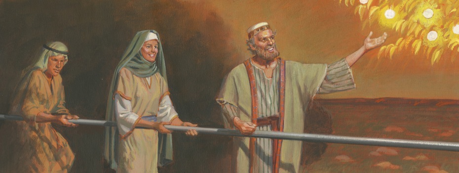 two men and a woman holding to the iron rod