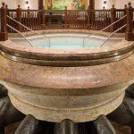 A Mormon temple baptismal font.