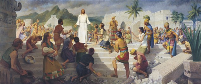 Jesus Christ ministering to people on the American continent