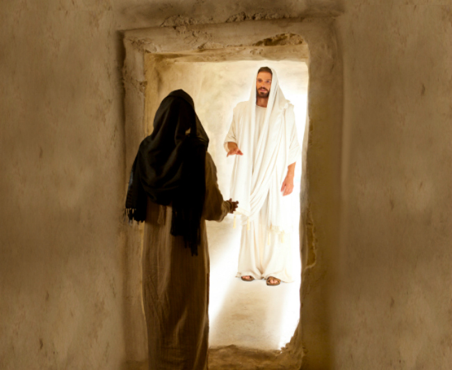 Jesus greets Mary after His resurrection