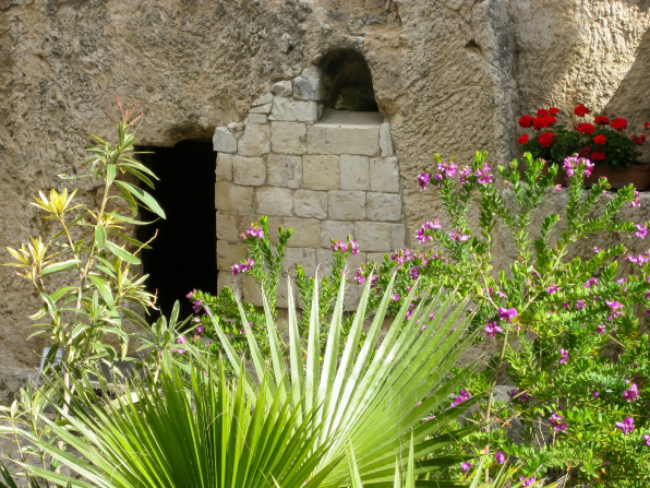 The doorway of an empty tomb after the resurrection of Jesus Christ