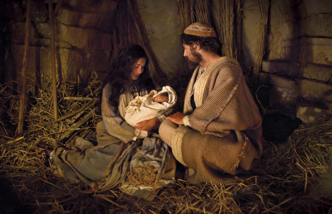 Mary and Joseph with newborn baby Jesus