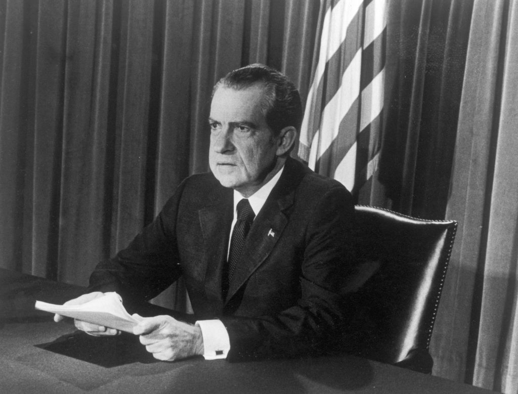 Nixon announcing his resignation