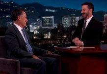 Mitt Romney talks with Jimmy Kimmel