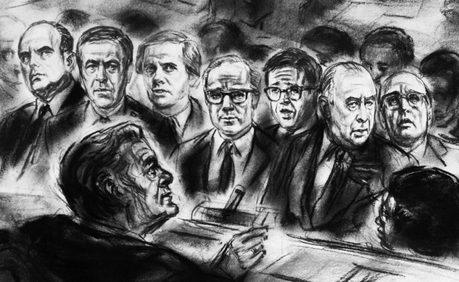 courtroom sketch Watergate trial