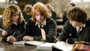 Harry Potter studying with friends