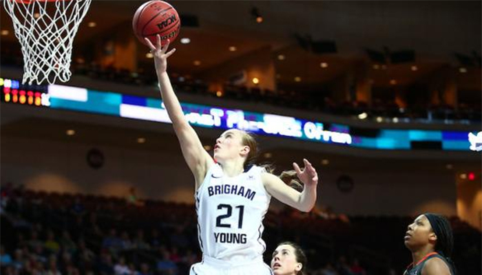 Action Shot Lexi Eaton Rydalch BYU basketball star