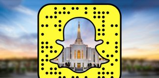 Temple with snapchat logo
