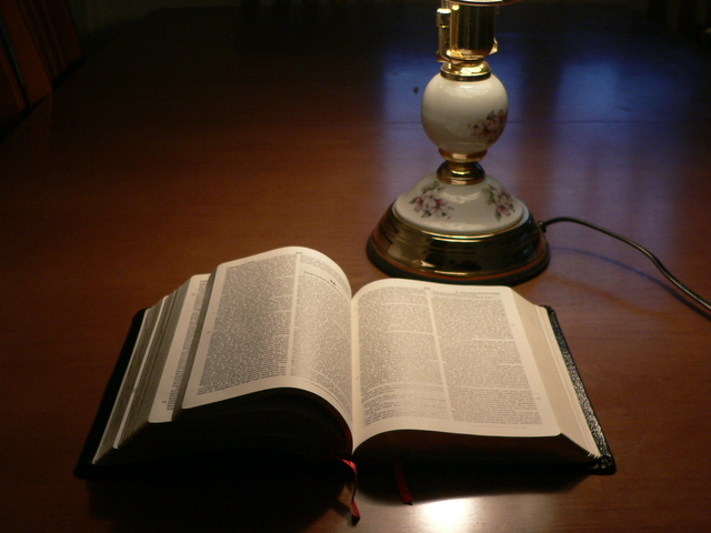 Bible rests on a table