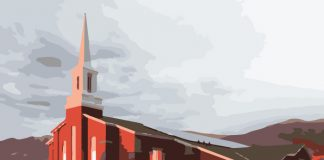 Mormon church meetinghouse stylized graphic