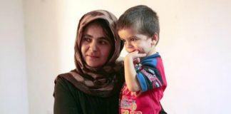 refugee mom and son