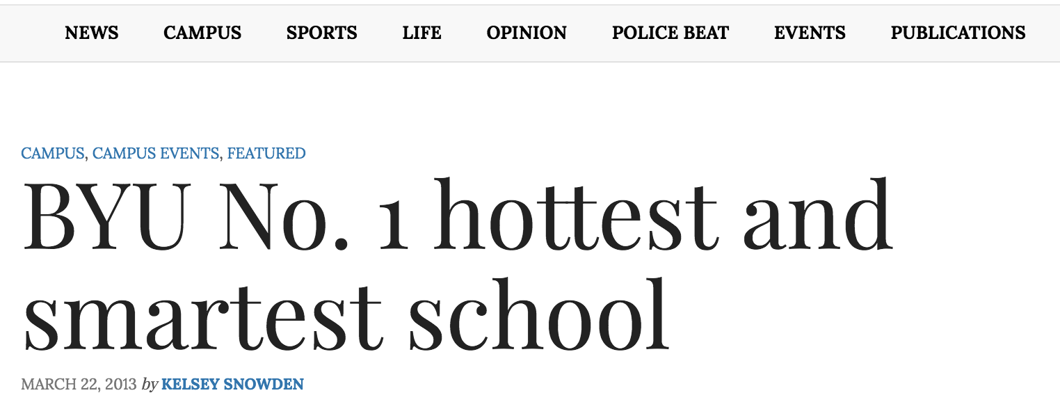 BYU No. 1 hottest and smartest school