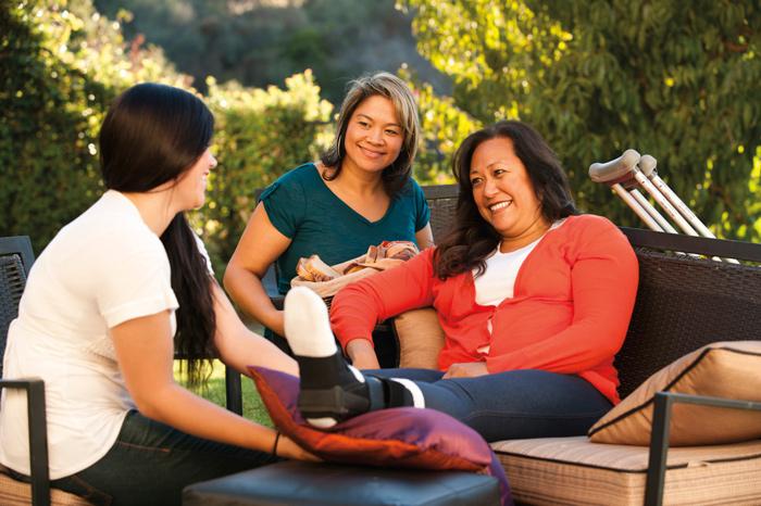Visiting teachers outdoor conversation