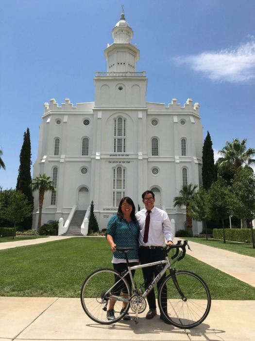 Pedal Pilgrimage Lutgen and Earls pose in front of the St. George Temple