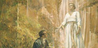 Moroni giving gold plates to Joseph Smith
