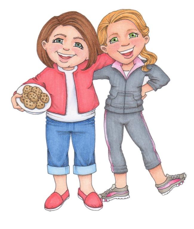 illustration two female friends