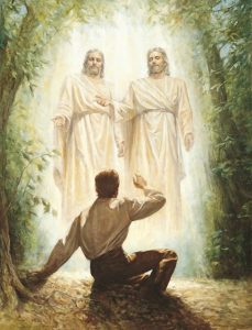 A painting of the First Vision where Heavenly Father and Jesus Christ appeared to Joseph Smith in the Sacred Grove.