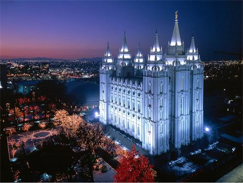 The Salt Lake City, Utah Mormon temple at night.