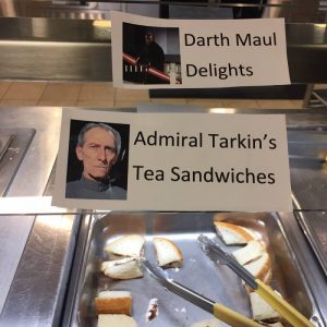 """The Church Office Building cafeteria offered """"Darth Maul Delights"""" and """"Admiral Tarkin's Tea Sandwiches"""" on Star Wars Day, Thursday, May 4, 2017."""