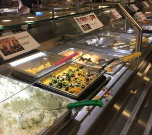 """The Church Office Building cafeteria offered Star Wars-themed food, including """"Dagobah Salad,"""" on Star Wars Day, Thursday, May 4, 2017."""