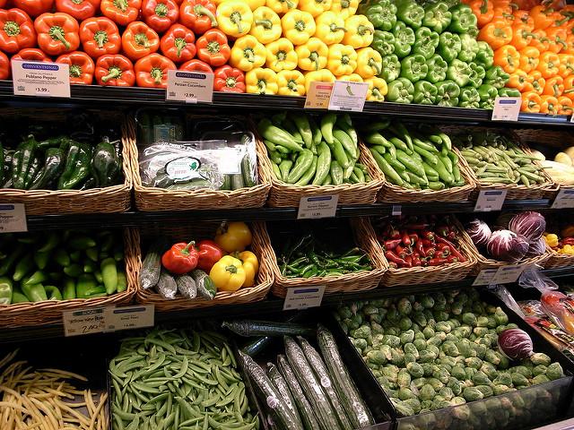 Shelves of Fresh Fruits and Vegetables
