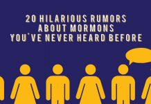 """Text """"20 hilarious rumors about Mormons you've never heard before"""" with purple background and graphics of people below."""