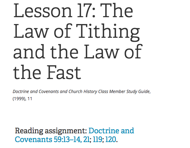 The lesson number, name, and reading assignment from the Doctrine and Covenants and Church History Class Member Study Guide for Gospel Doctrine class.