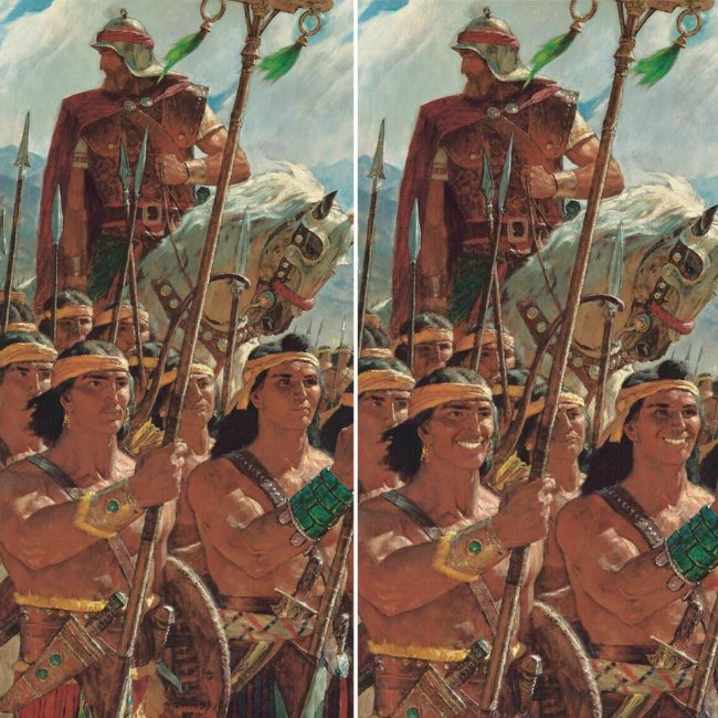 Mormon stripling warriors smiling