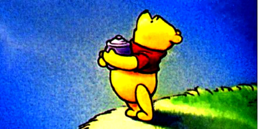 Winnie the Pooh looks up at the night sky with a pot of Honey