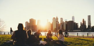 A group of friends has a picnic