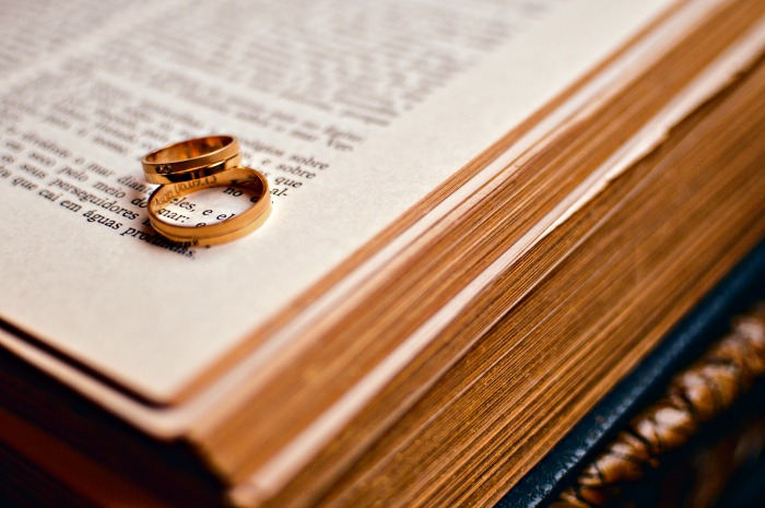 Rings on a Bible to represent a Marriage Survey