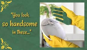 "COJOY Cleaning Glove via Amazon.com with text ""You look so handsome in these..."""