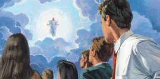 Christ descending from the sky during Second Coming