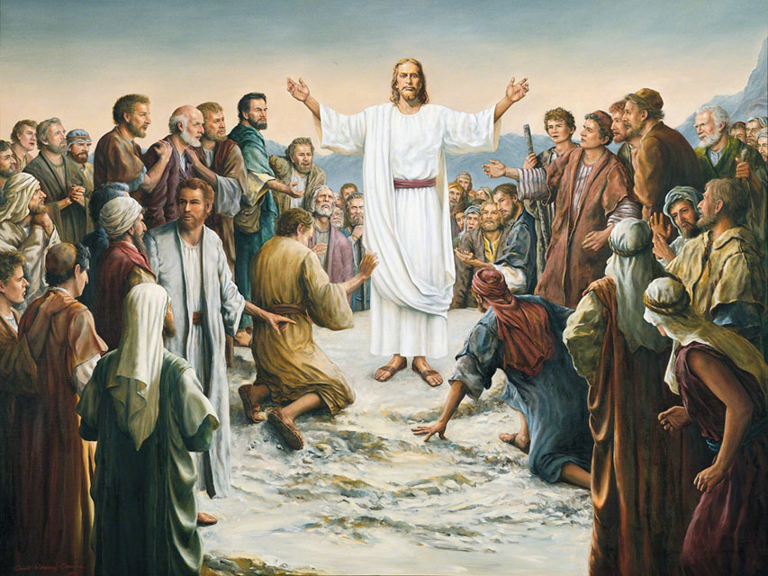 Resurrected Christ appears to a crowd