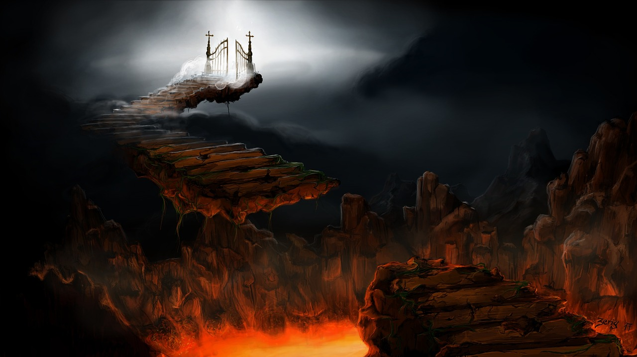 Broken stairway over pit of lava with heavenly gates in the distance
