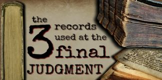 "Old books around the words ""the 3 records used at the final judgment"""