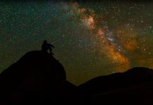 Silhouette of man thinking under stars