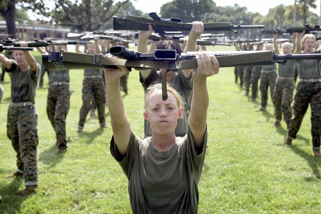 women in boot camp for Mormons military