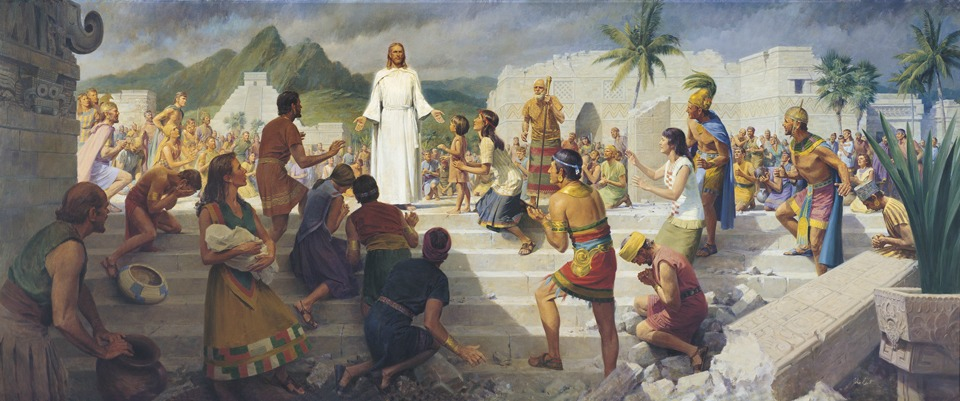 Painting of Christ visiting people on western hemisphere of the world