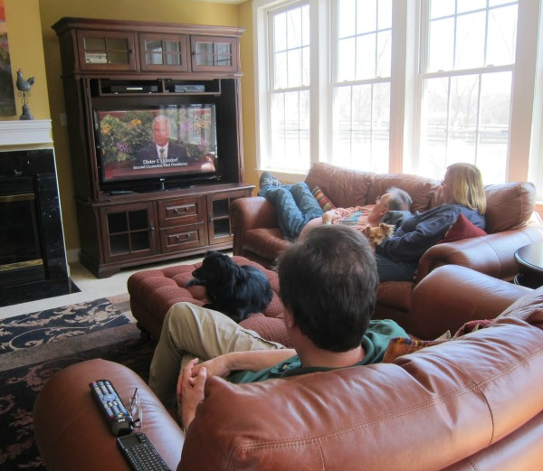 family watching general conference