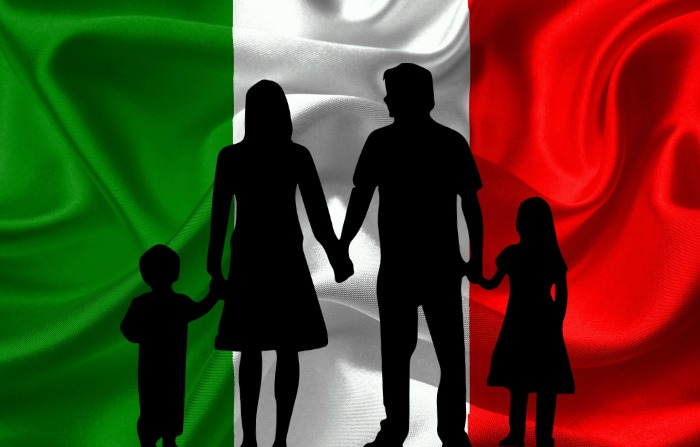 Family Silhouette in front of Italian Flag