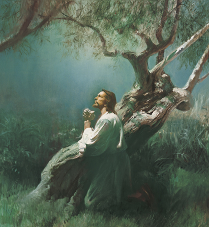Jesus Christ Praying in humility in Gethsemane