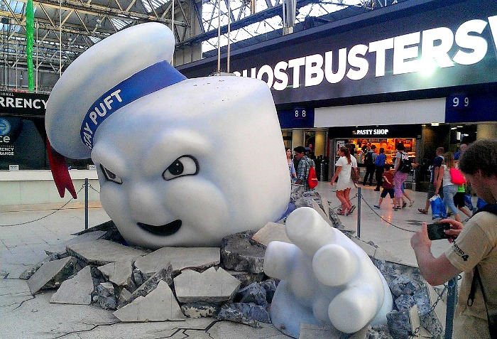 Ghostsbusters and marshmallow man statue