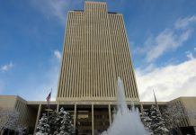 LDS Church office building snow