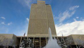 LDS Church office building snow